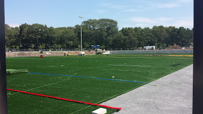 installation of the new turf field at FHS during the summer (field is in full use now)