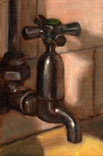 Oil painting of a mid-twentieth-century chrome-plated tap.