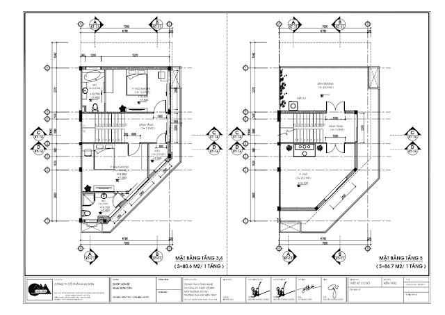 Mặt bằng tầng 3 - 4 - 5 Shophouse