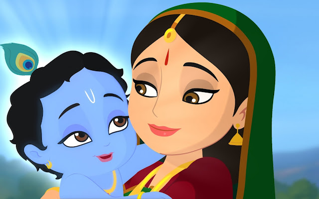 Maa Yashoda & Lord Krishna Carton HD Wallpaper