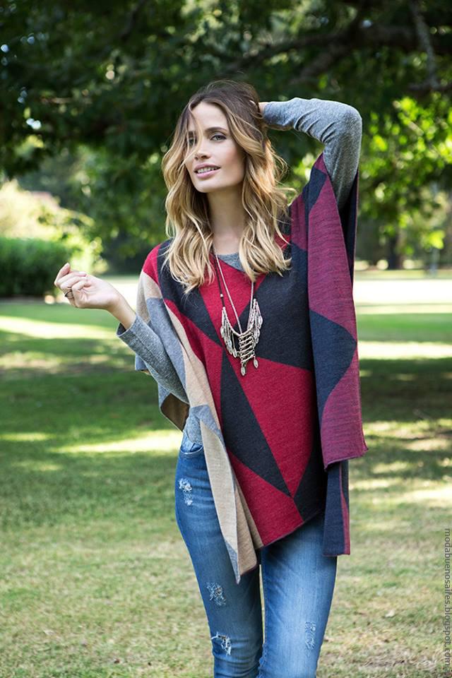 Ponchos invierno 2016 prendas tejidas Milana Sweaters.