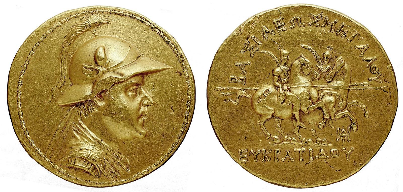 Золотая монета греко-бактрийского царя базилевса евкратида i.
