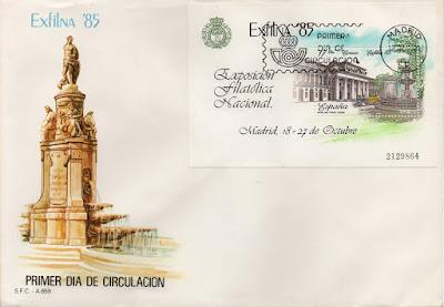 Sobre Primer Día de Circulación de la hoja bloque de la EXFILNA 1985 dedicada al Museo del Prado de Madrid