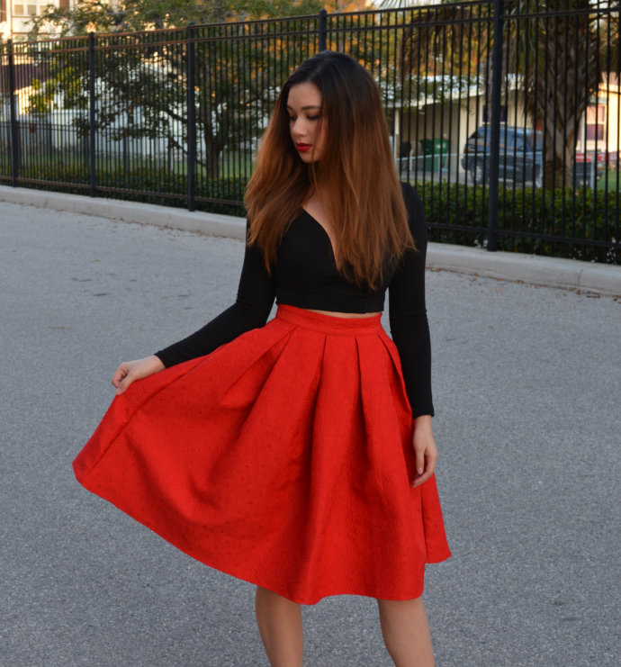 Raspberry Jam: Outfit 157 - Red Pleated Midi Skirt