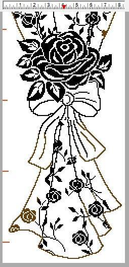Филейная штора с розами крючком (3)