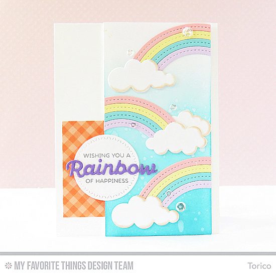 Pastel Rainbow Card by Torico featuring the Rainbow of Happiness stamp set, and the Color the Rainbow, Puffy Clouds, Stitched Rainbow, Zig Zag Stitched Circle STAX Die-namics #mftstamps