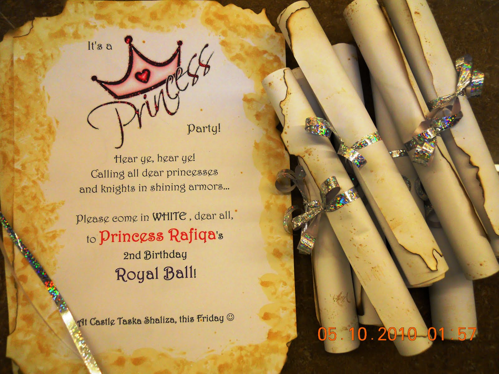 PRINCESS RAFIQAs 2nd Birthday ROYAL BALL INVITATION