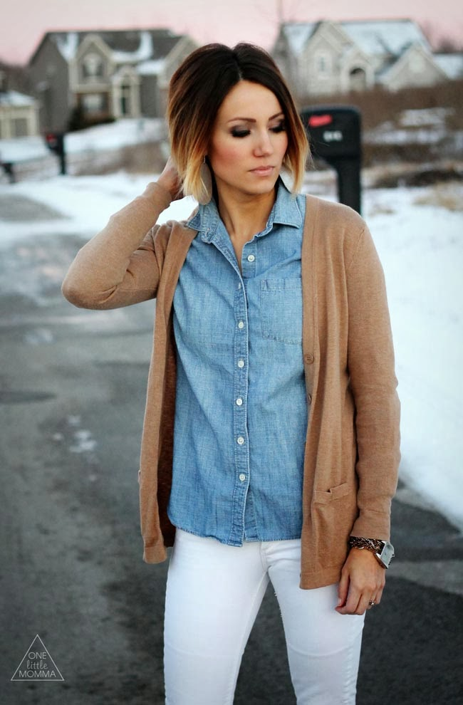 chambray shirt, tan cardigan, white denim