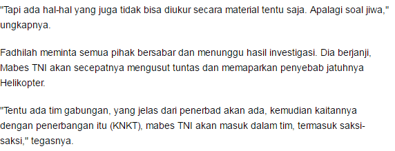 TNI Angkatan Darat masih enggan berkomentar terkait dengan helikopter jatuh saat amankan kunjungan Jokowi di Sleman - Commando