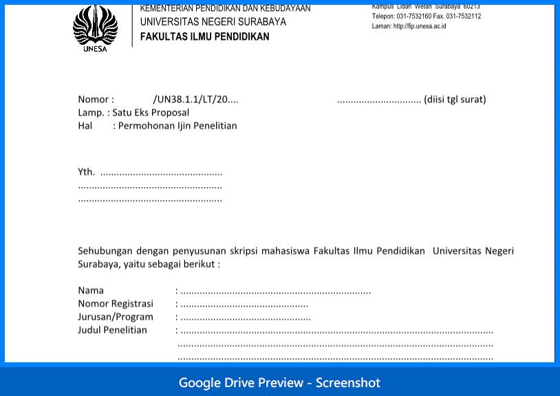 Contoh Surat Permohonan Izin Penelitian Dari Kampus Mahasiswa Dan Dosen