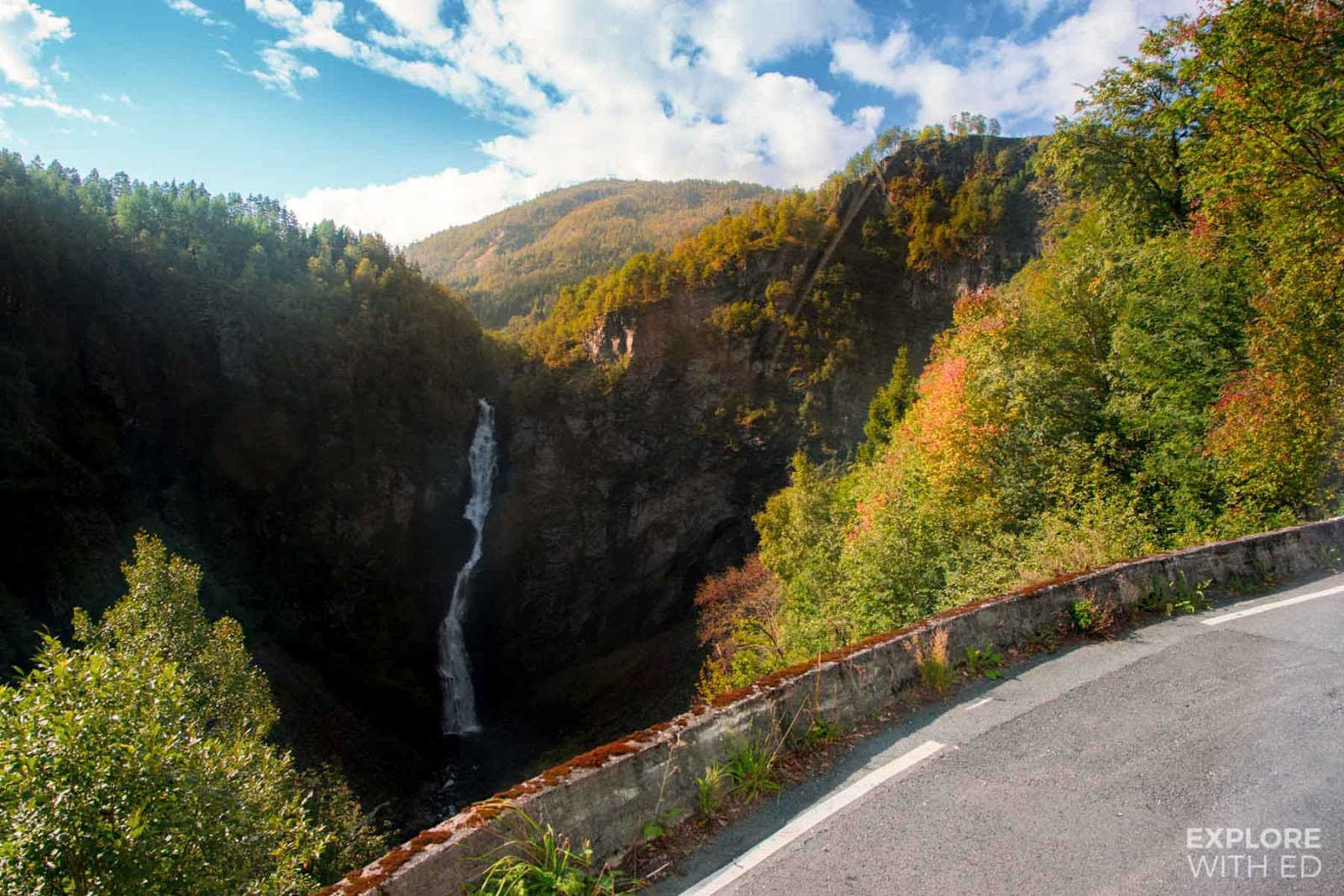 Waterfall viewed from Norway's steepest road