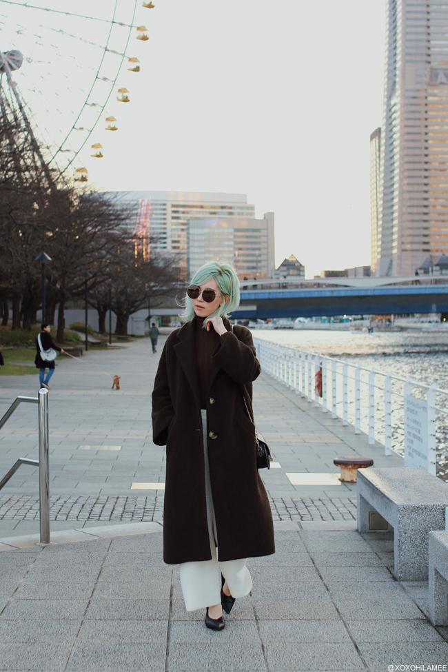 Japanese Fashion blogger,MizuhoK,20190309 OOTD, ZARA=brown long coat, SHOPLIST=turtle neck knit top, GU=knit wide leg pants, FLINT BY FOXLANE COLLECTIVE=round bag, Rakuten=V cut pump mules, zeroUV=round sunglasses