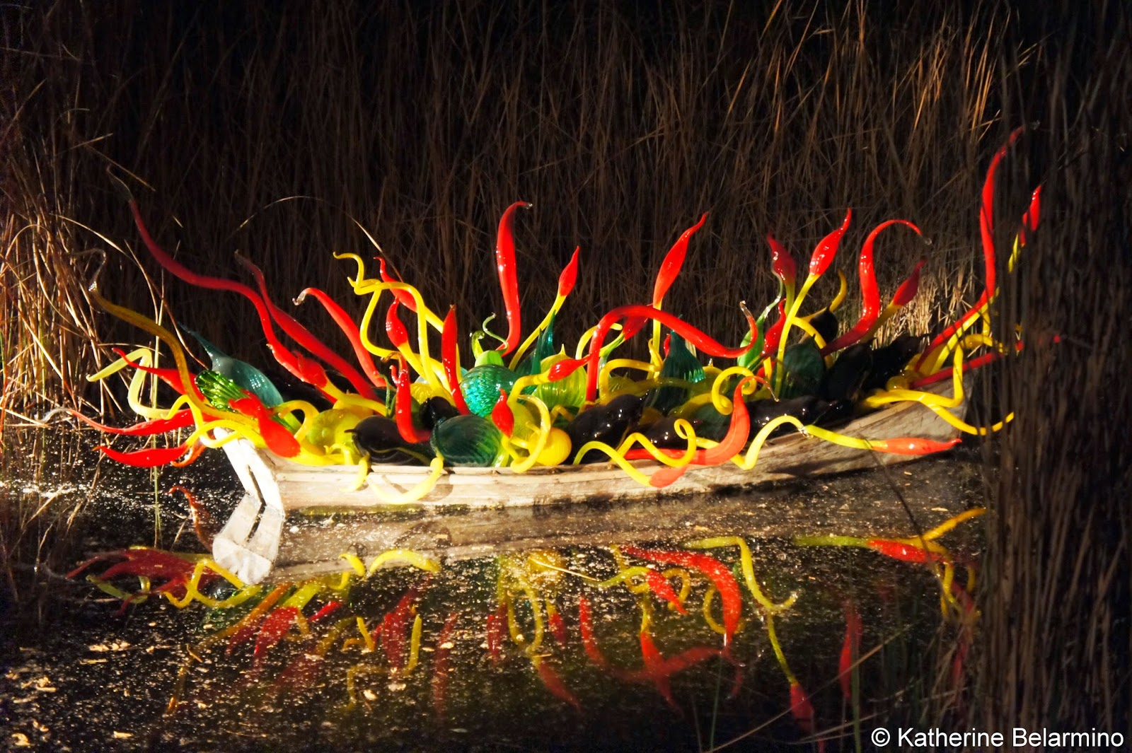 Dale Chihuly Sonoran Boat and Blue Crystals Desert Botanical Garden Phoenix Arizona