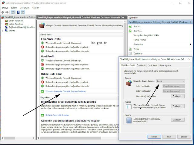 windows güvenlik duvarını kapatarak bağlantı sıfırlandı hatası çözümü