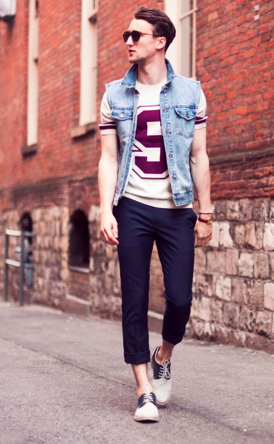 Look Masculino com colete jeans