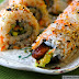 Unagi and Avocado Rolls with Carrot Sushi Rice