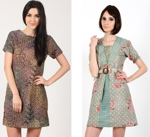 Model Baju Atasan Batik Wanita: Model Baju Atasan Wanita Muslim Batik Bahan Sifon Modis