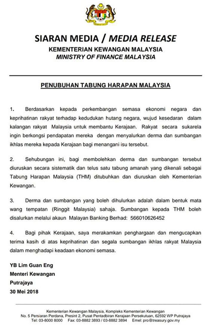 Kenyataan rasmi penubuhan Tabung Harapan Malaysia