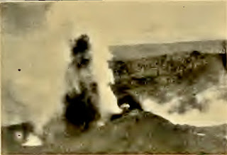 Eruption of Taal Volcano of July 5, 1904.  Note the position of the boiling lake to the right of the eruption crater.