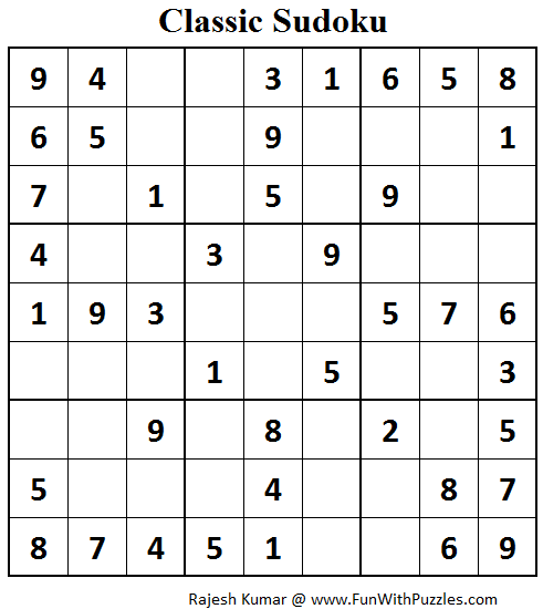 Classic Sudoku (Fun With Sudoku #70)