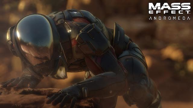 Cartel promocional del videojuego de exploración espacial Mass Effect Andromeda