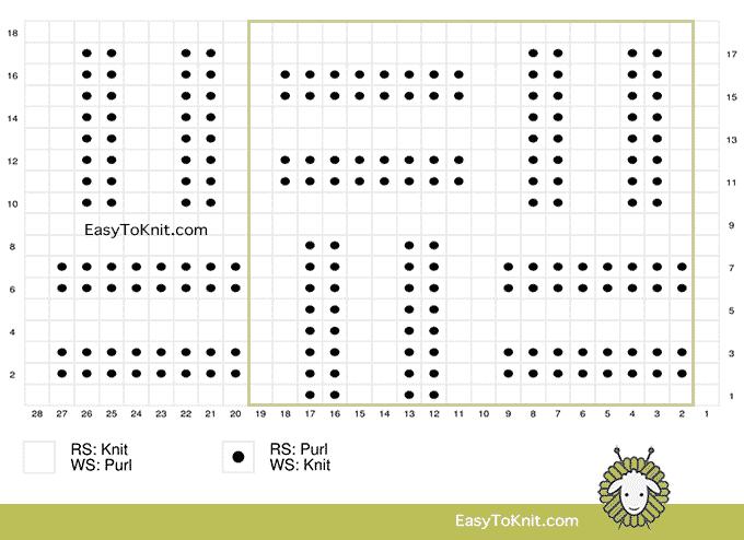 Knit Purl 8: Double Basketweave stitch chart