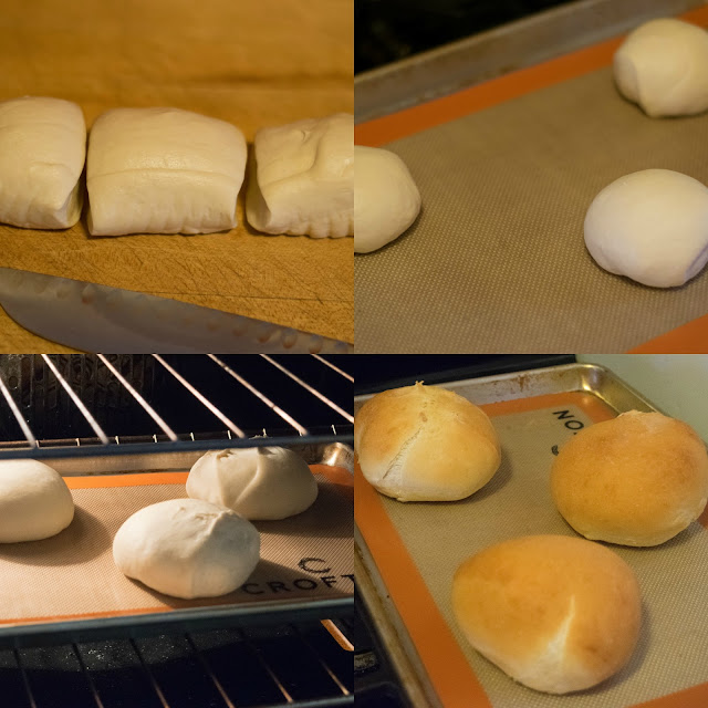 The steps to making the bread bowls.