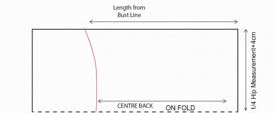 back pattern of long slip dress