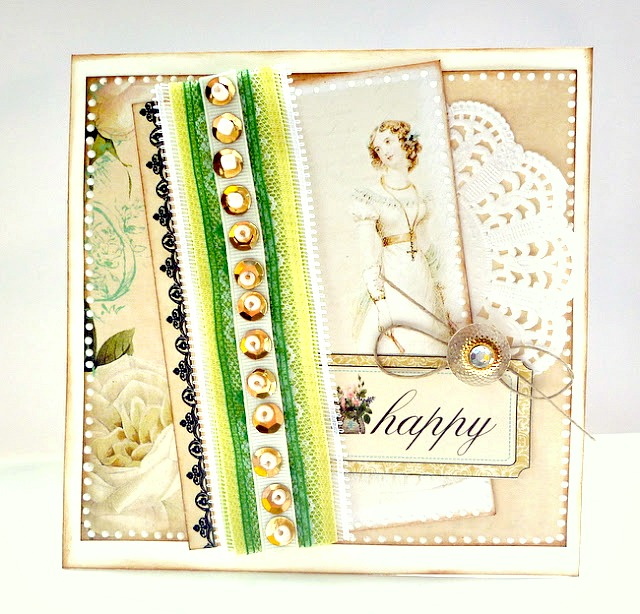 Happy Card by Dana Tatar Featuring Beaded Ribbon Trim