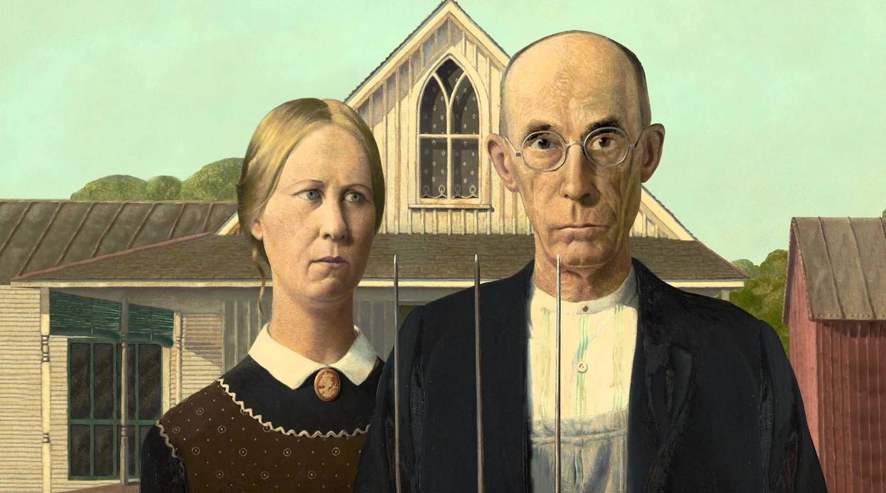 Los dos granjeros protagonistas del cuadro de Grant Wood, American Gothic, del que toma su nombre la serie de la CBS