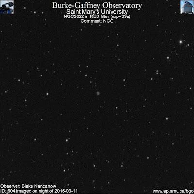 red filter photograph of planetary nebula NGC 2022