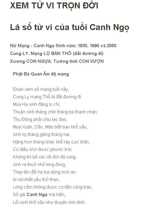 Tu Vi Tron Doi Canh Ngo 1990 Nu Mang