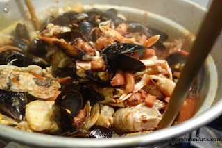 Seafood soup made in Tuscany Italy