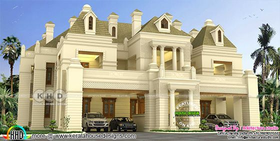 Colonial style luxury house design with dormer windows