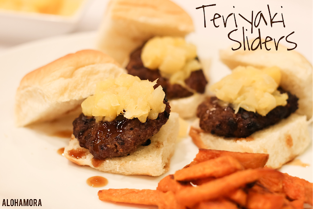 Teriyaki Sliders using Hawaiian Rolls for the buns, pineapples, and homemade Teriyaki Sauce to get an easy to make and oh so delicious slider burger.  Yummy!  Dinner Recipe: Alohamora Open a Book http://alohamoraopenabook.blogspot.com/ easy to make,