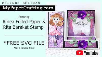 FREE SVG & Video Rinea Foiled Paper Side Step Card