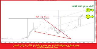 تحليل المؤشر العام للسوق المصري على التدريج الربع سنوي و توضيح نموذج الوتد الهابط