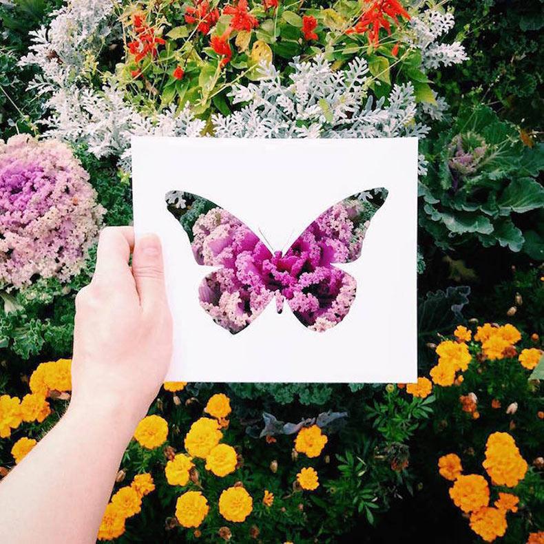 Recortes de papel de siluetas de animales pintado por paisajes naturales