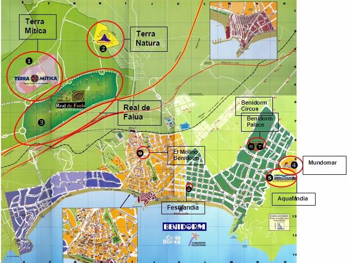 Rincon De Loix Mapa.Parques Tematicos Atracciones Y Ocio En Benidorm