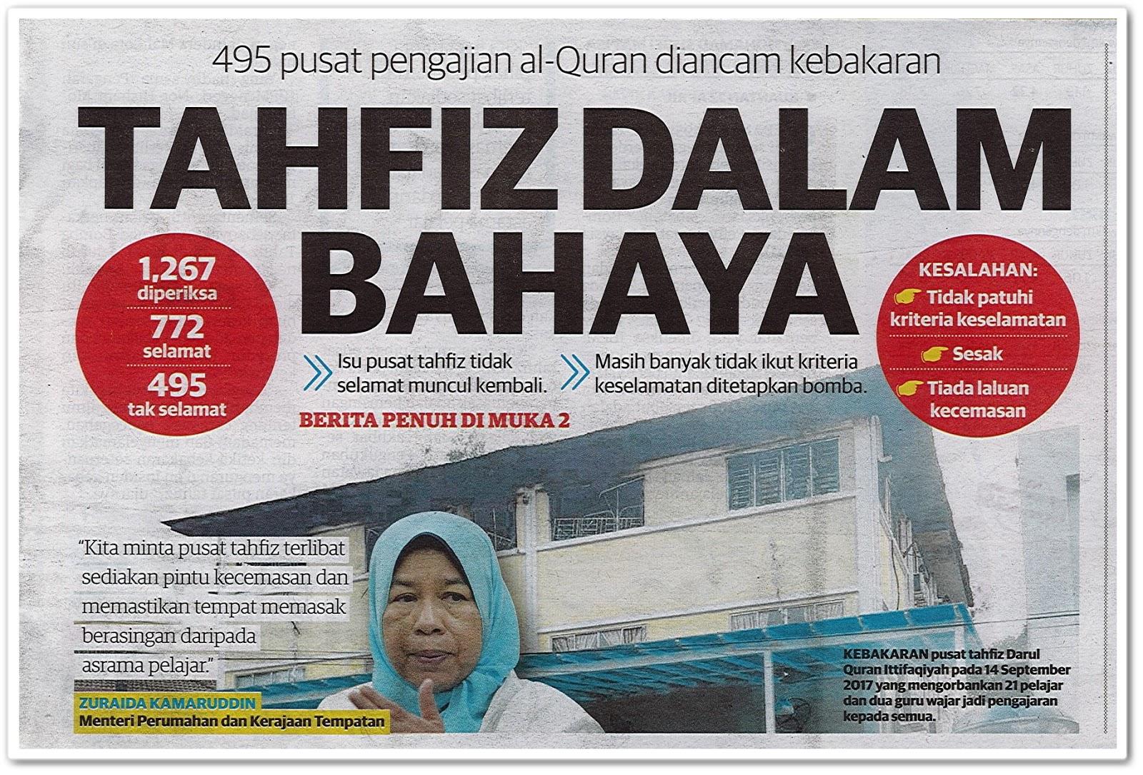 Tahfiz dalam bahaya - Keratan akhbar Utusan Malaysia 23 April 2019