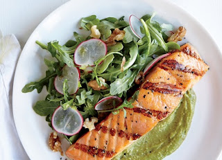 Salmon with Walnut -Avocado Guacamole
