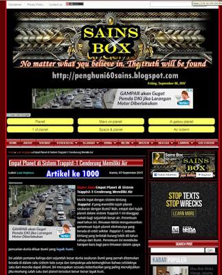 Blog Sains Box Telah Sukses Mencapai 1000 Artikel