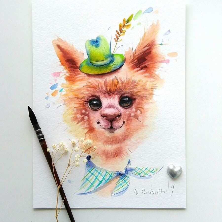 01-Alpaca-Evgeniya-Solovyova-Fantasy-Animals-Watercolor-Paintings-www-designstack-co
