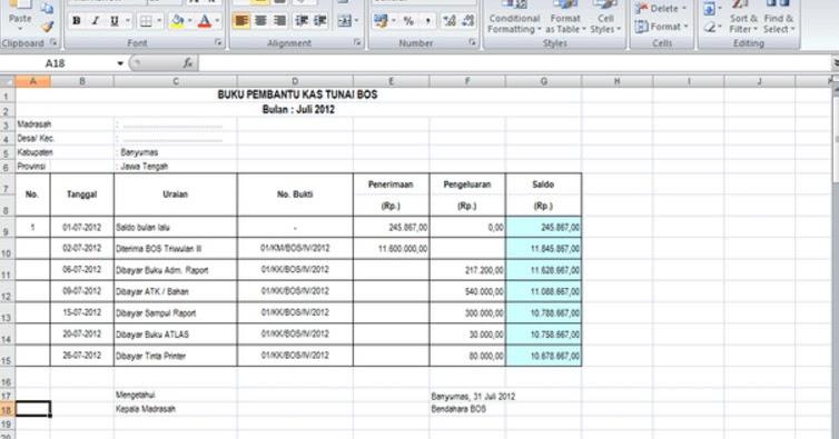 Download Contoh Spj Laporan Bos Format Microsoft Excel Terbaru Tahun