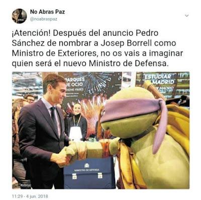 Pedro Sánchez, Borrell, exteriores, ministro de defensa, Ninjemys