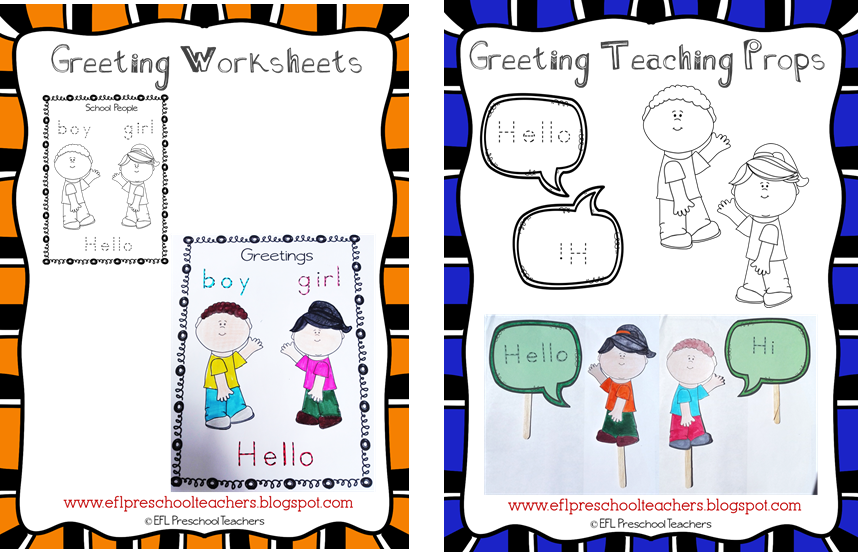 Eslefl preschool teachers greetings theme resources for ell worksheet 2 and 3 introducing the words boygirl and teacher theres the props page for the teacher i turned them into puppets m4hsunfo