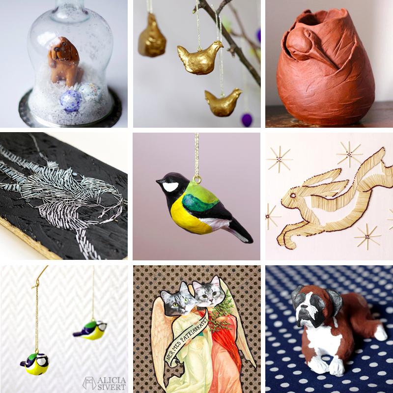 konst kreativitet skapa skapande monthly makers aliciasivert keramik skulptur lufttorkande lera collage tändstickor tavla häftklamrar kanin fåglar hundar katter katt fågel hund