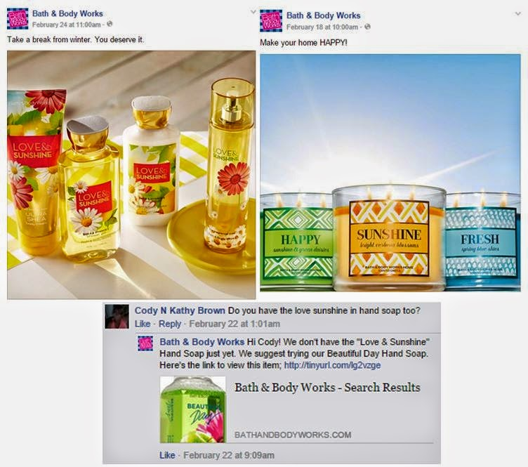 How BATH & BODY WORKS uses Facebook, Twitter, Google+, Pinterest and