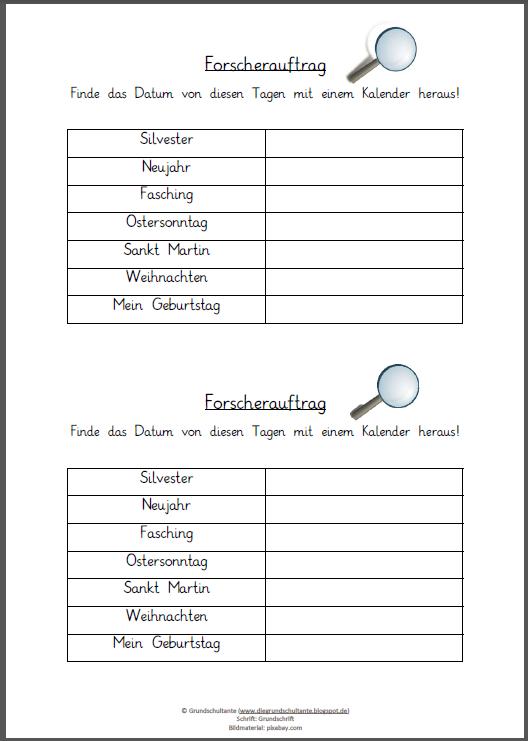 Grundschultante: Forscherauftrag Kalender
