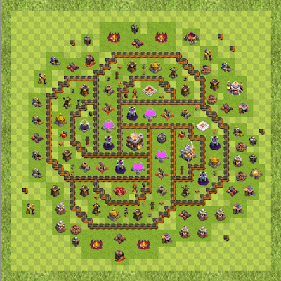 War Base Town Hall Level 11 By Hwl-Bloodeater (Geometri krigs base TH 11 Layout)
